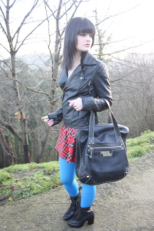 black rag&bone boots - black Miss jacket - sky blue Miss Selfridge tights