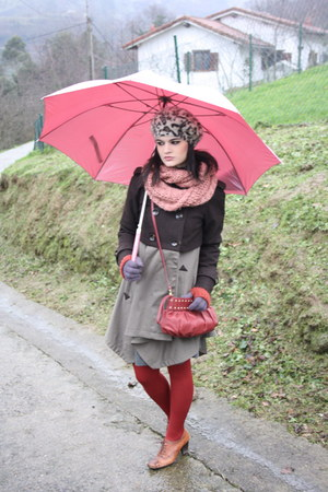 olive green asos coat - brown Hispanitas shoes - ruby red Tous bag