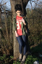 salmon Wildfox t-shirt - tan Janet&Janet boots