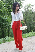red Ralph pants - tan Alexander Wang shoes - white Naf Naf shirt