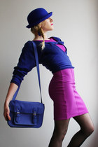 navy bowler hat H&M hat - purple A Wear dress - navy Forever 21 sweater