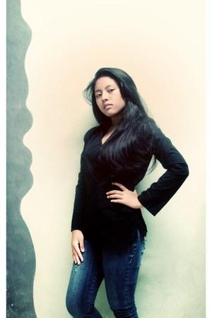 black blouse Megumi blouse - blue jeans Esprit jeans