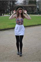 green vintage hat - black andré shoes - white asos skirt