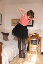 salmon Zara top - black asos dress - tan Zara sandals