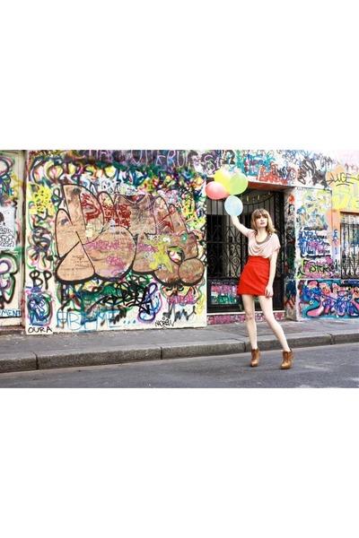 H&M t-shirt - Stradivarius boots - H&M skirt