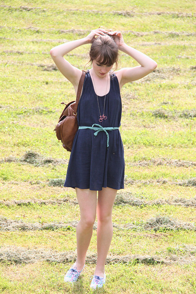 navy Promod dress - burnt orange Aldo bag - sky blue H&M sneakers