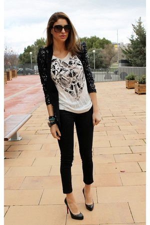 black Zara blazer - white Zara t-shirt - black Zara pants
