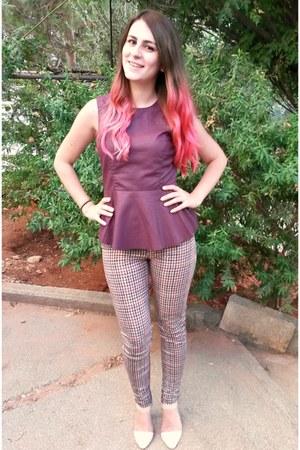 magenta peplum Vero Moda top - magenta print Zara pants