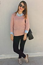 sky blue H&M shirt - off white H&M shoes - light pink Vero Moda sweater