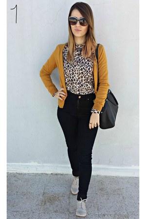 mustard H&M cardigan - cream H&M shoes - dark brown H&M shirt - black H&M bag