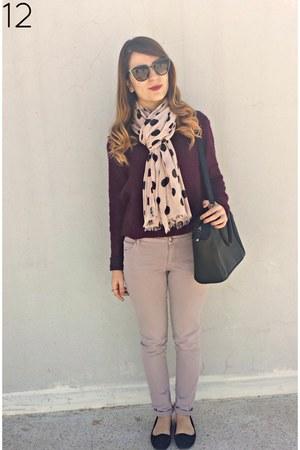 light pink Massimo Dutti pants - magenta wool hm sweater
