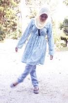 periwinkle sisters woredrobe dress - nude chiffon rndom scarf - periwinkle denim