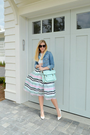midi skirt Joa skirt - denim jacket Forever 21 jacket - satchel modcloth bag