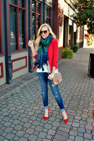 abercrombie and fitch scarf - red Lauren Conrad blazer