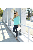 polka dot J Crew pants - clutch francescas bag - teal French Connection top