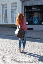 blue H&M jeans - beige Mango boots - pink Mango jumper