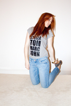 blue H&M jeans - silver t-shirt - blue Topshop necklace - gray Zara shoes