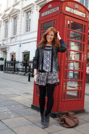 black Zara coat - black new look boots - white Primark dress
