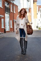 beige Newlook cardigan - gray Vividress boots - blue H&M jeans - beige H&M shirt