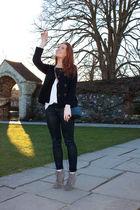 black Topshop pants - silver asos boots - white SANDRO shirt