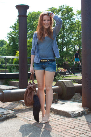 blue Topshop shorts - gray H&M top - gray aa cardigan - beige Topshop shoes - br