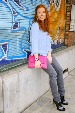 blue Zara blouse - pink Antonio Scepi accessories - gray H&amp;M jeans - black asos 