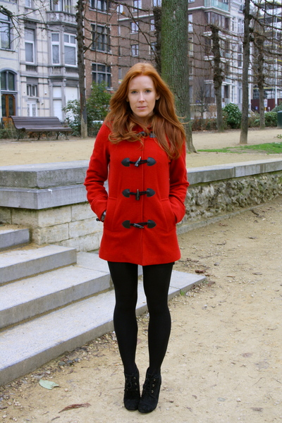 red H&M jacket - black Zara shoes