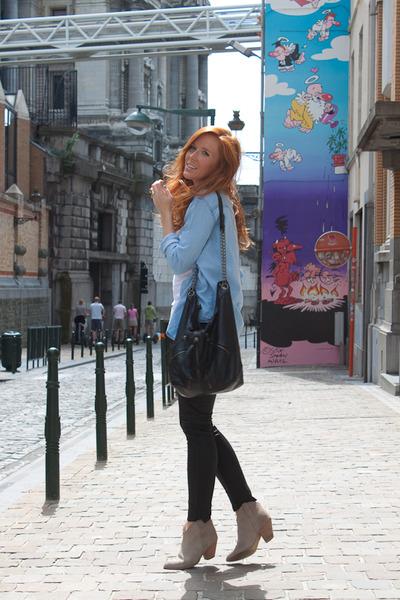 black Topshop pants - black next bag - beige Mango boots - blue Zara shirt - whi