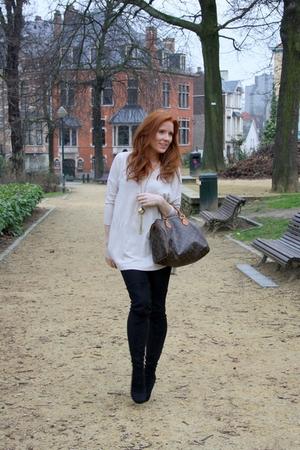 beige H&M Trend t-shirt - black Miss Selfidge boots - black mark&spencer tights