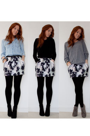 black Zara wedges boots - gray asos boots - white Topshop skirt