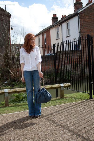 white H&M shirt - blue H&M jeans - gray Zara shoes - blue zara bag accessories