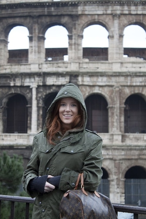 green thrift coat - black Zara boots - brown LV bag accessories - brown Miss Sel