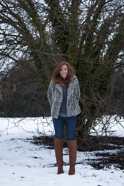 gray leo print Zara coat - brown Zara boots - blue H&M jeans