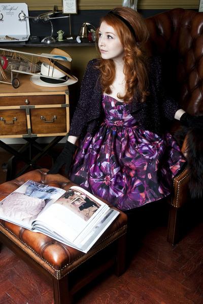 amethyst LaChatterie dress - deep purple LaChatterie jacket - black Oana Calin a