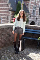 mint H&M sweater - Nelly boots - shopper New Yorker bag