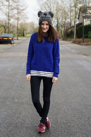 blue H&amp;M sweater - beanie c&amp;a hat - stripes H&amp;M shirt