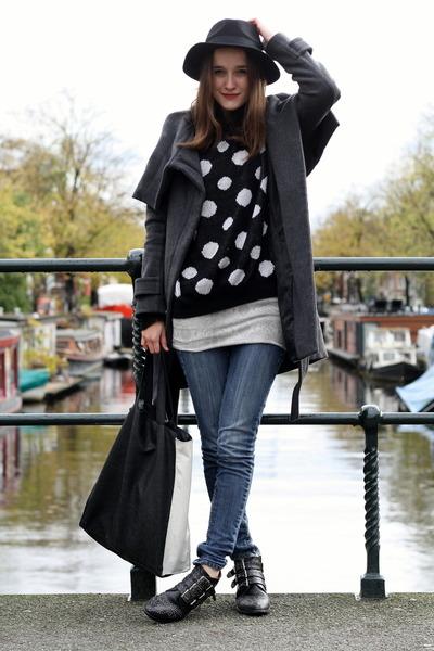 polka dots c&a jumper - studs Sacha boots - snake printed weekday dress