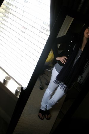 white Forever 21 pants - purple scarf - gray top - black Forever 21 blazer - bla