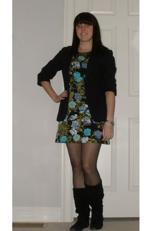 blue Forever 21 dress - green dress - black dress - black blazer - black Steve M