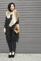 black DIY leggings - camel H&M scarf - tawny Zara bag - black weekday blouse - b