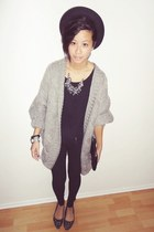 black Marc Jacobs bag - heather gray Zara cardigan - black Vero Moda flats