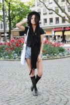 black H&M hat - black TK Maxx scarf - white Patrick Mohr bag - sky blue Levis sh