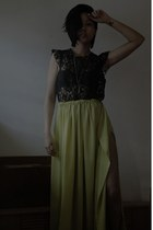 lime green handmade skirt - black H&M blouse