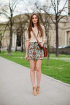 tan Zara skirt - camel Zara boots - tawny Oasis bag - nude vjstyle blouse