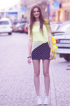 yellow asos bag - yellow asos top - cream Converse sneakers