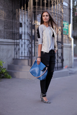 black asos heels - black DIY jeans - blue vjstyle bag