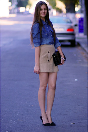 dark khaki Zara skirt - black Zara shoes - sky blue H&amp;M shirt - black Zara bag