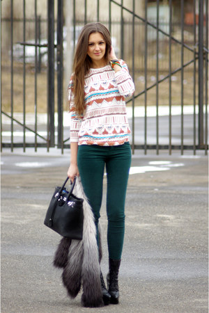 heather gray H&M jacket - teal pull&bear jeans