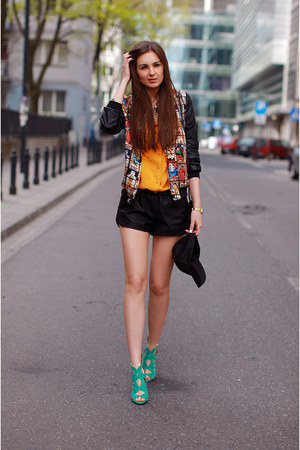 black bomber vjstyle jacket - black H&M hat - orange chicnova shirt