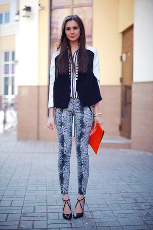 black Sheinside shirt - white Choies blazer - red asos bag - black Zara pants